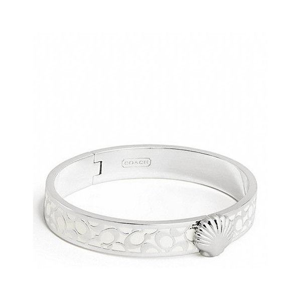 Coach Thin Hinged Shell Bangle ($98) ❤ liked on Polyvore