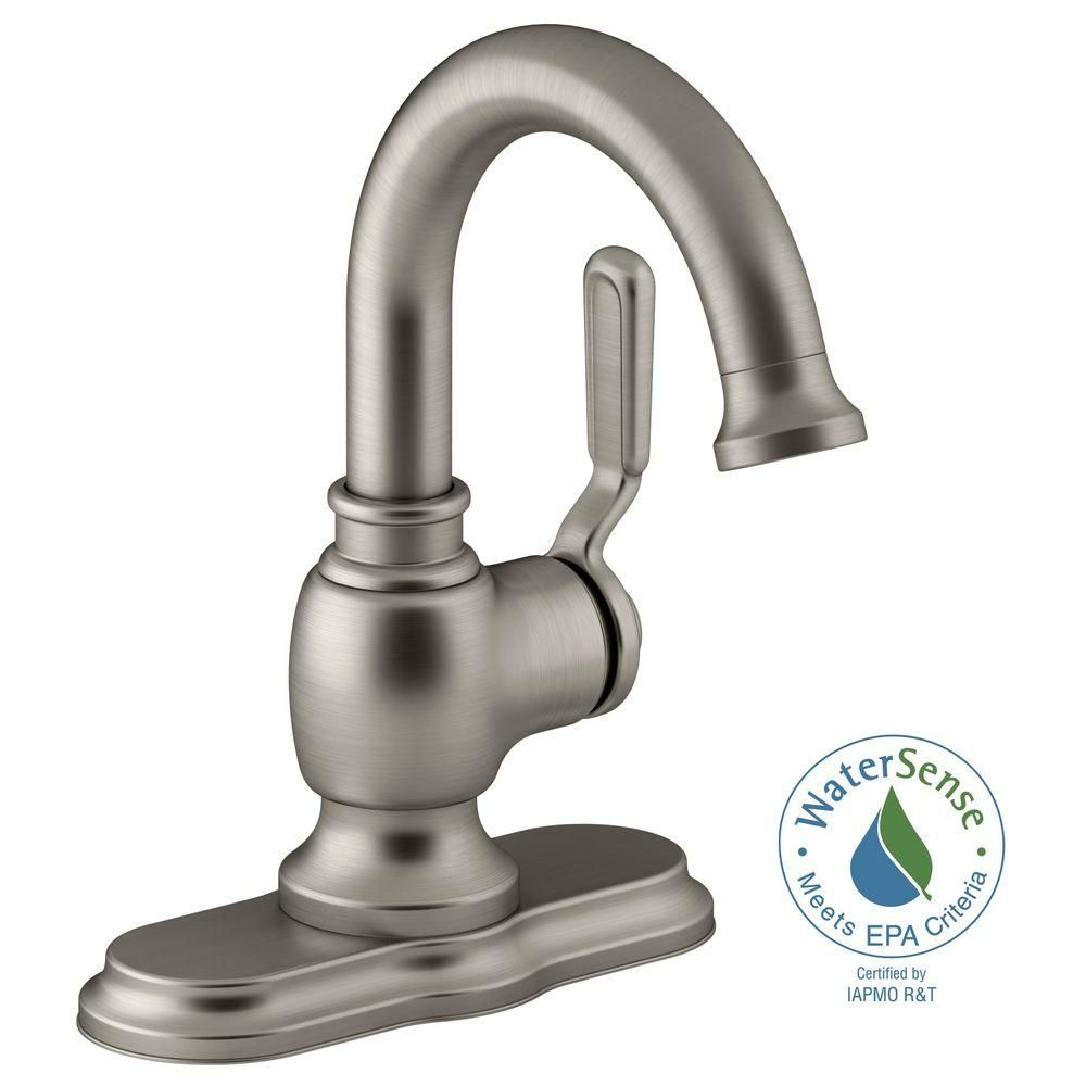 KOHLER Worth Single Hole 1-Handle Bathroom Faucet in Vibrant Brushed ...