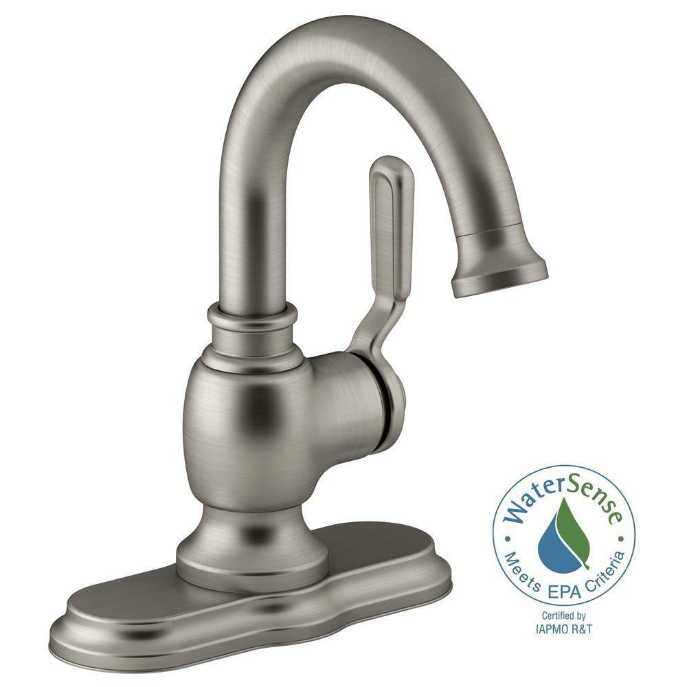 Kohler Worth Single Hole 1 Handle Bathroom Faucet In Vibrant Brushed Nickel