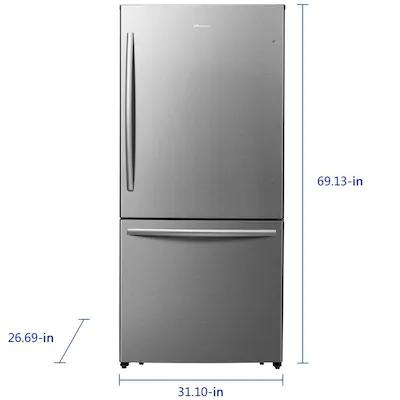 Hisense 17 1 Cu Ft Counter Depth Bottom Freezer Refrigerator Stainless Steel Energy Star Lowes Com Bottom Freezer Bottom Freezer Refrigerator Stainless Steel Refrigerator