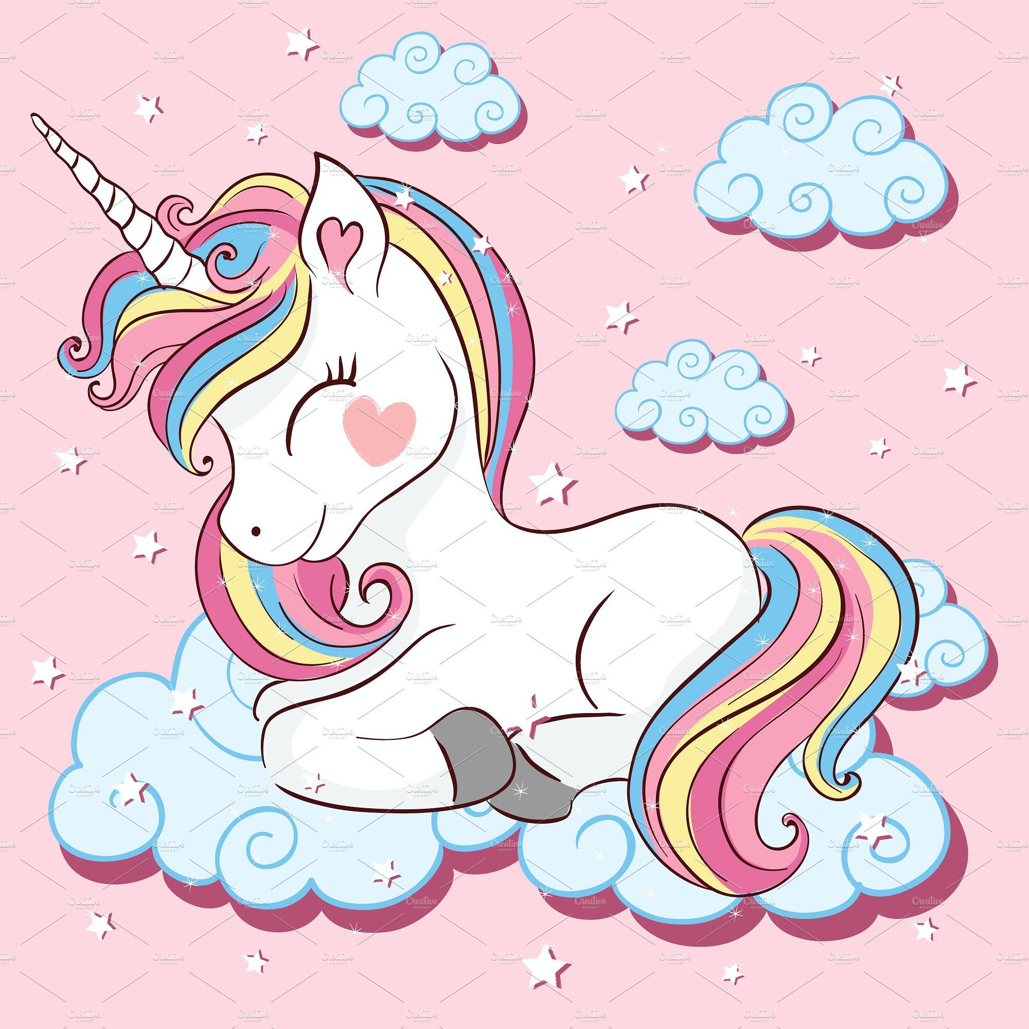 10 Cute Unicorn Cartoon Vector Unicorn Illustration Unicorn