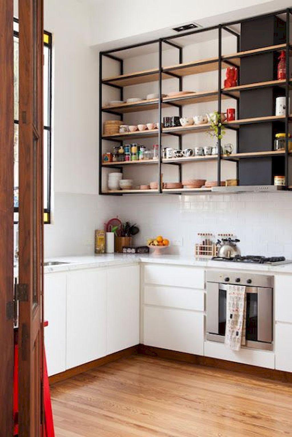 80 farmhouse open shelves kitchen decor ideas setyouroom com open shelves kitchen decor on farmhouse kitchen open shelves id=74708