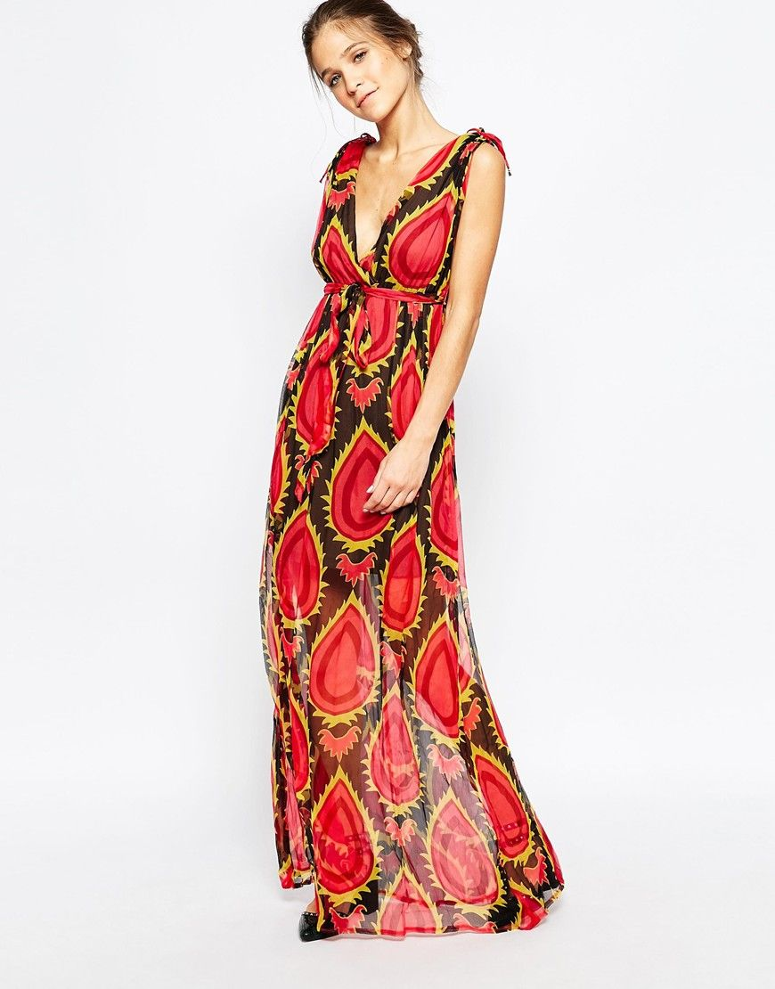 Image of traffic people silk maxi dress in abstract floral print