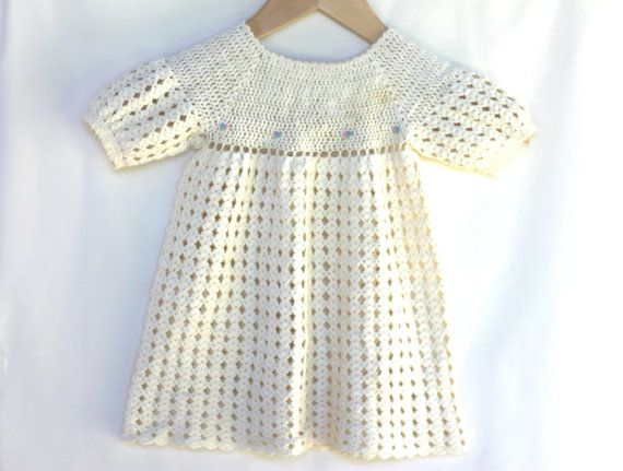 Beautiful Natural White Crochet Vintage Dress, Baby, Girl, 12- 18 months, Wool, Soft, Handmade, 1 year old, Cristening, Traditional, Wedding...