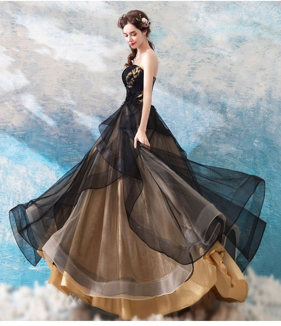 Schwarz Goldenes Ballkleid  Abendkleid, Ballkleid, Kleider