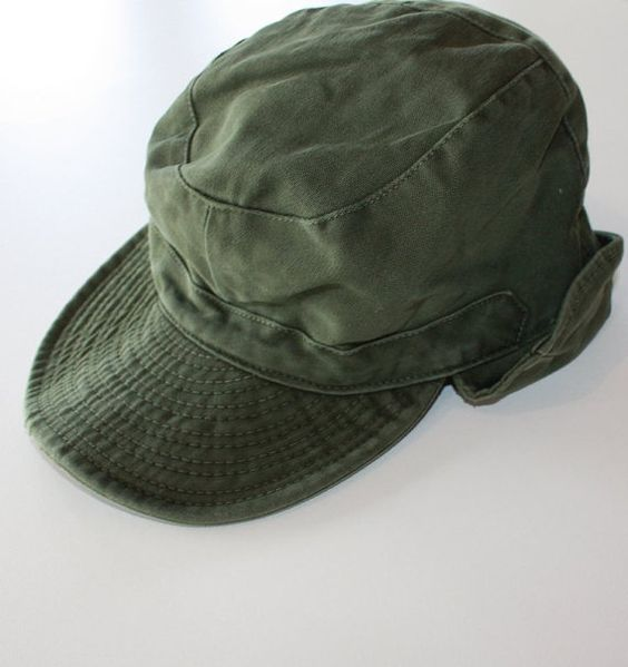 Army Hat with Ear Flaps    Free US shipping    Vintage Military baseball hat  with earflaps    Green Canvas Hat    Army Baseball Cap  d8c403a9a36