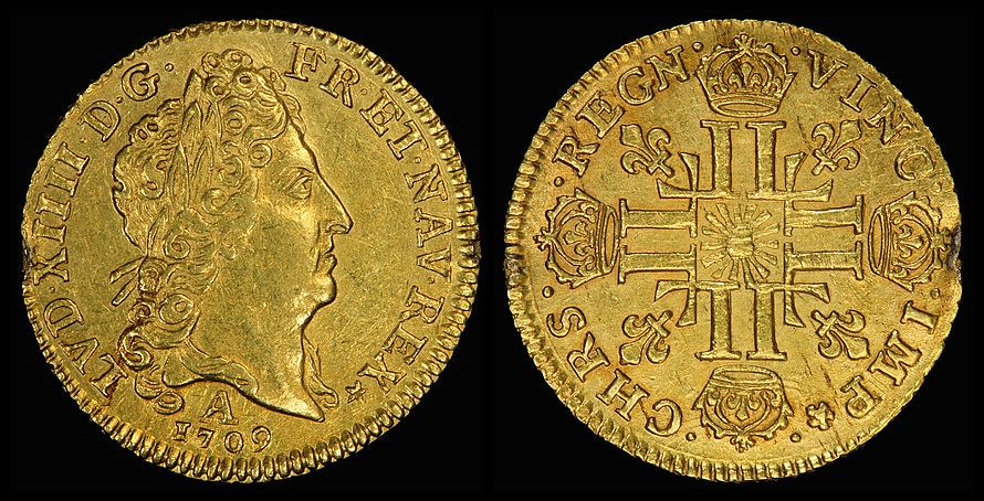 Louis XIV depicted on a Louis d'or in 1709 | wikipedia.org