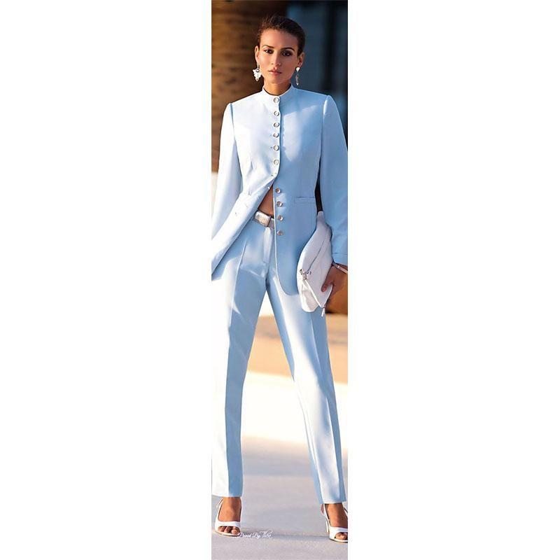 8fb5aca841a NEW light blue fashion business women suits uniform female office ladies  pants suit formal pants suits for weddings