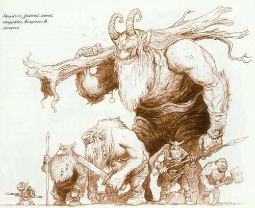 "Art by Per ""Perkan"" Sjögren Types of trolls in Drakar och Demoner: Trudvang"