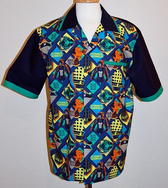 Doctor Who Patch print mens bowling style shirt ILYLfT