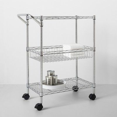 3 Tier Utility Cart With Wheels And Handle Chrome - Made By Design