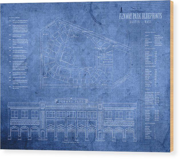 Fenway Park Wood Print Featuring The Mixed Media Fenway Park Blueprints Home Of Baseball Team Boston Red Sox On Fenway Park Blueprint Art Fenway Park Painting