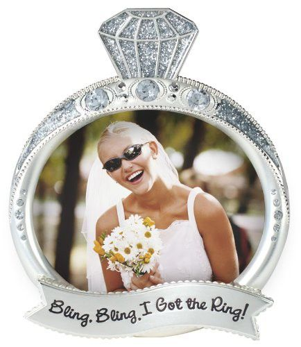 Malden International Designs Wedding Jewel and Glitter Bling Bling Ring Picture Frame, 3x4, Silver
