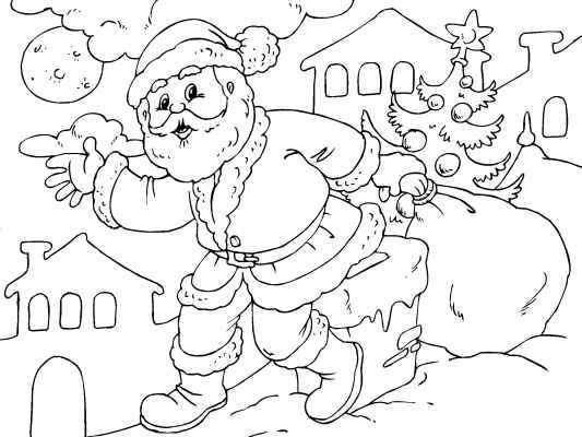 a santa claus coloring page santa has his bag presents for all the good girls and boys lots of free christmas coloring pages to enjoy at