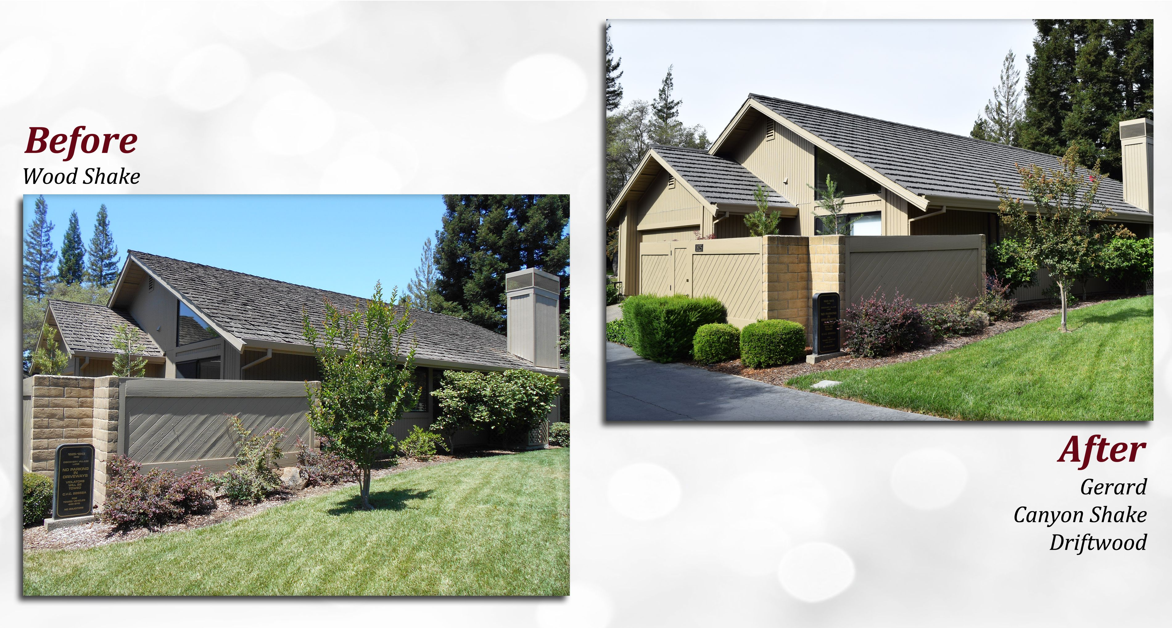 Before After Of A Gerard Stone Coated Steel Roof Profile Canyon Shake Color Driftwood Steel Stone Metal Roof