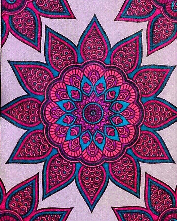 Mandala Colored With Gel Pens By Me Gel Pens Coloring Marker Art Mandala Coloring