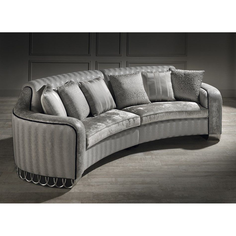 Ringo Smoke Grey Silver Upholstered Curved Unit Sofa Living Room Rocking Chairs Curved Sofa Sofa Design