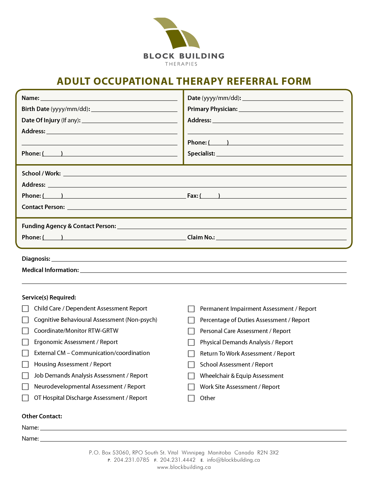 Tenncare Occupational Therapy Templates