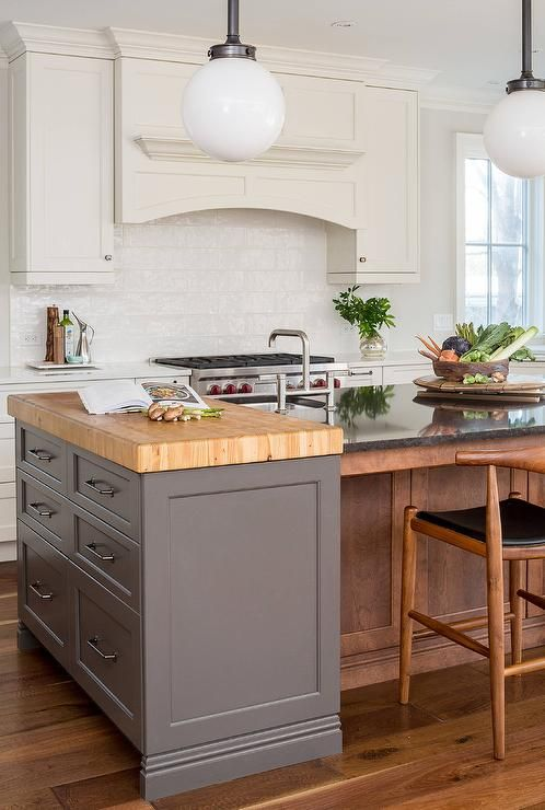 A Simple Dark Gray Butcher Block Kitchen Prep Island Connects A