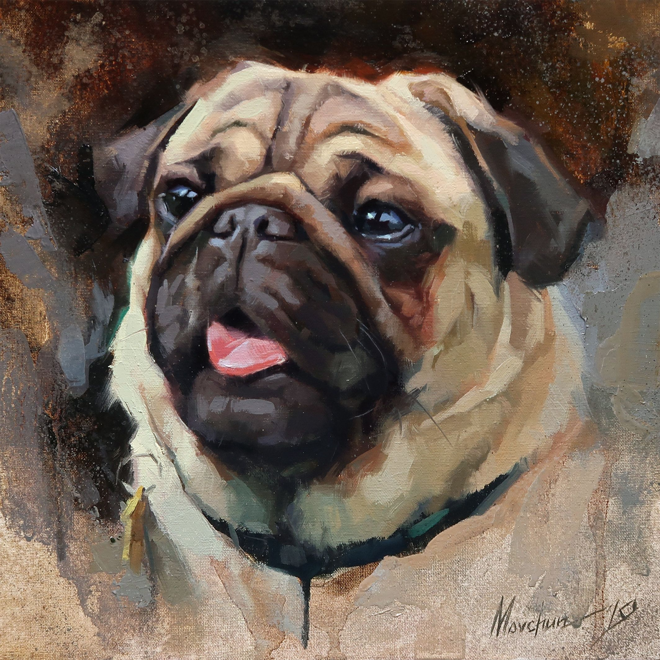 Dog Oil Painting Dog Art Pet Portrait Pug Pug Portrait Animal