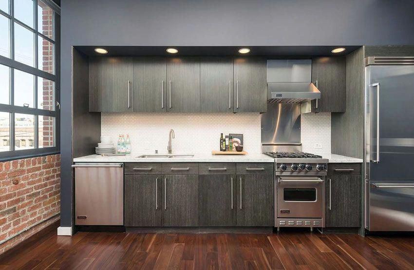 Small Contemporary One Line Kitchen With Dark Cabinets And Wood