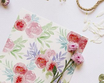 Watercolour Rose Garden Greetings Card - #birthdaycard  - #Valentines Day  #EasterCard  #Pink  #Roses #ThankYouCard
