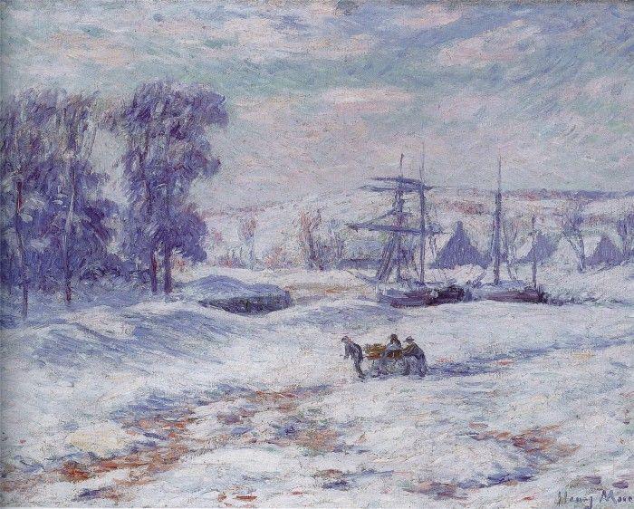 Henri Moret. Le port de Pont-Aven sous la neige | Quimper, Art, Christmas  night
