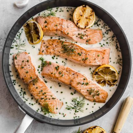 Pan Seared Salmon with Lemon Herb Parmesan Sauce Recipe #searedsalmonrecipes
