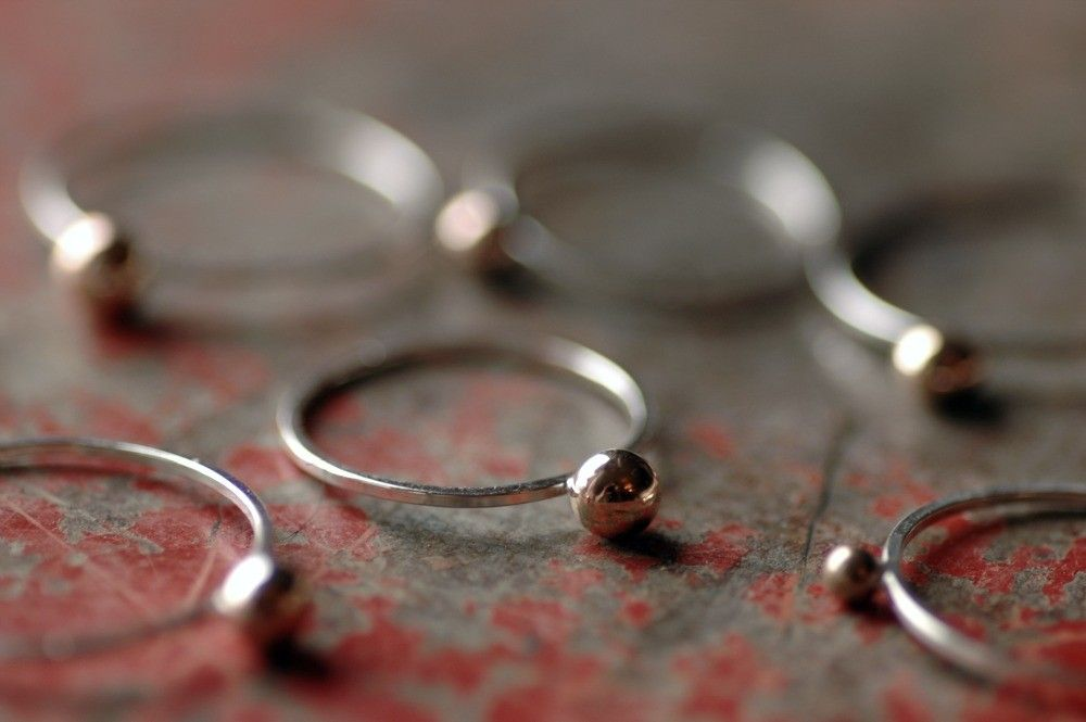 Sterling Silver and Brass Ball Stacking Ring (1) - Curio Ring. $14.00, via Etsy.