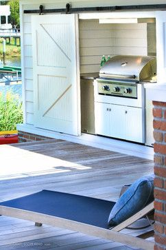 Outdoor Kitchen Grill Area Concealed By Sliding Barn Door Yes House Transitional Home Decor Transitional House