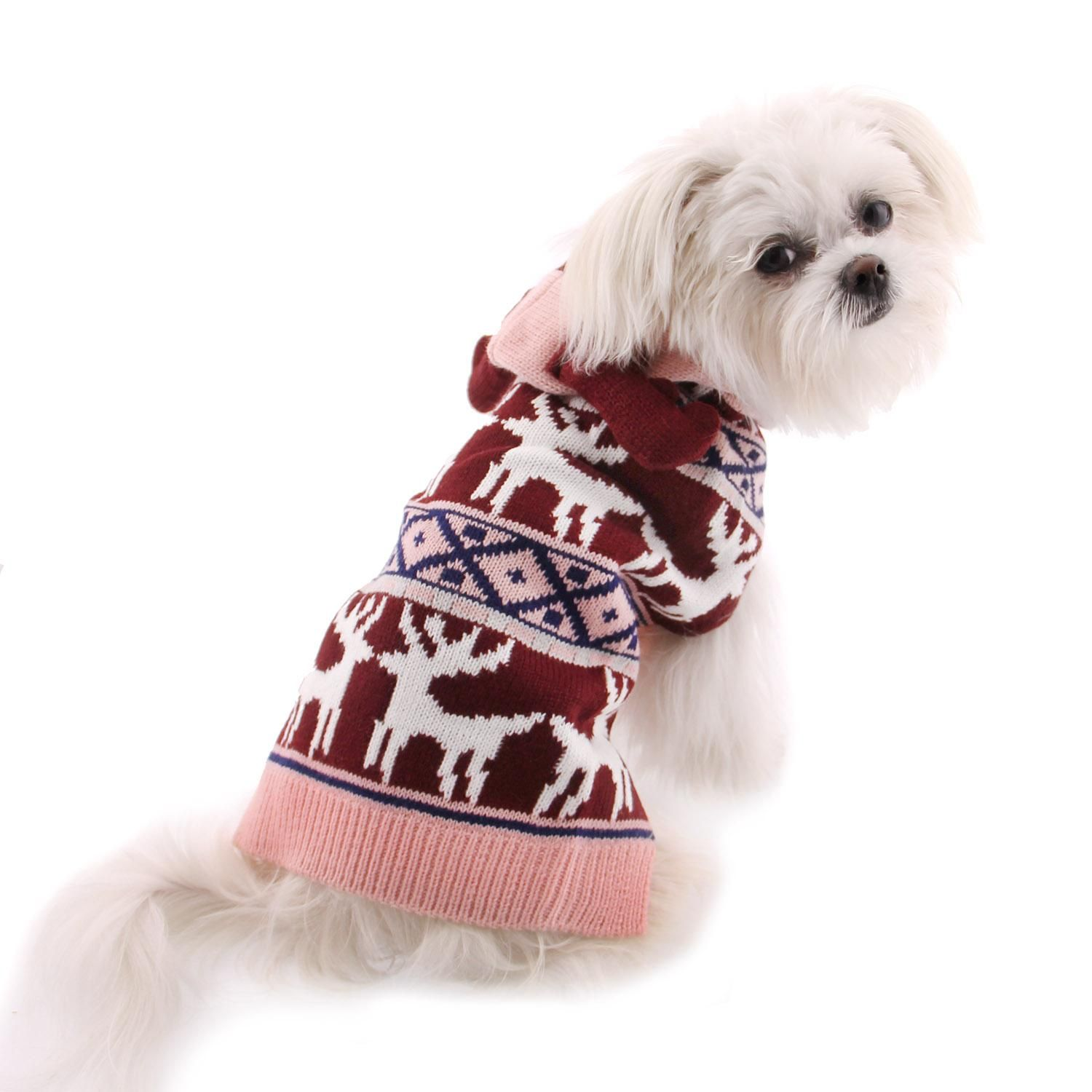 Zack And Zoey Elements Antler Dog Sweater Pink Dog Antlers