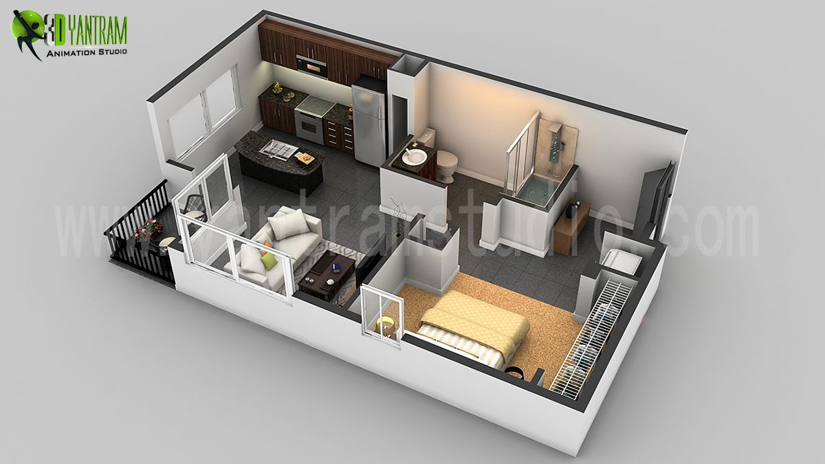 Small House 3d Floor Plan Residential Cgi Design Garage