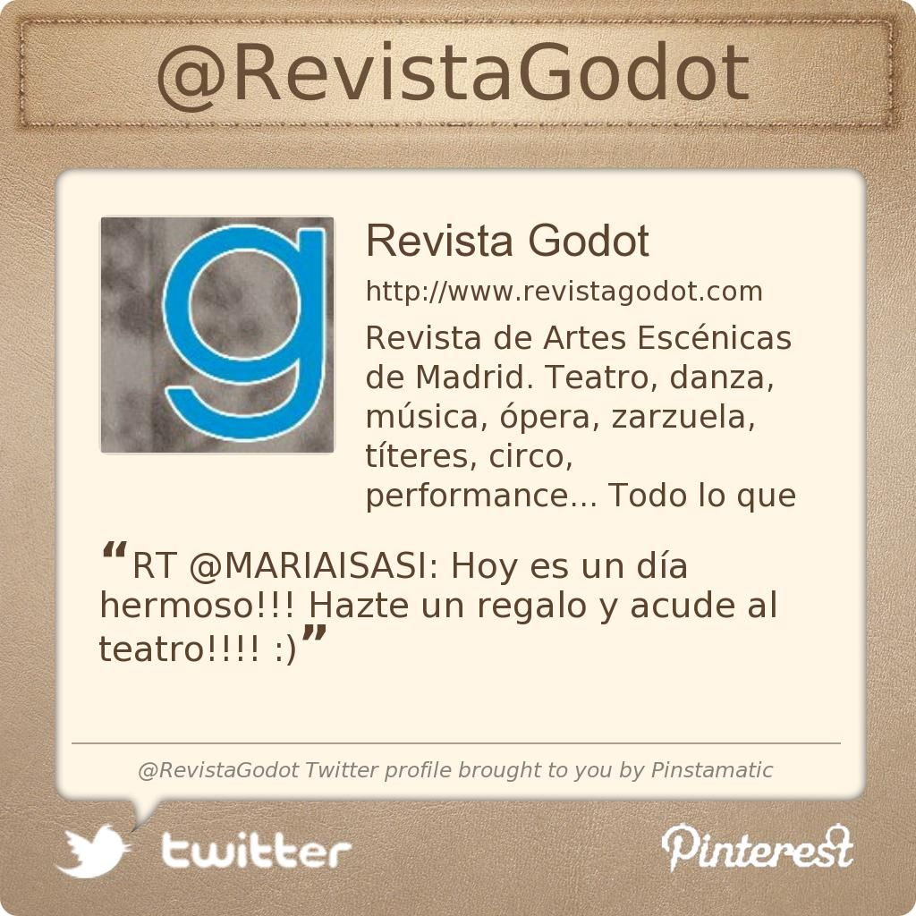 @RevistaGodot's Twitter profile courtesy of @Pinstamatic (http://pinstamatic.com)