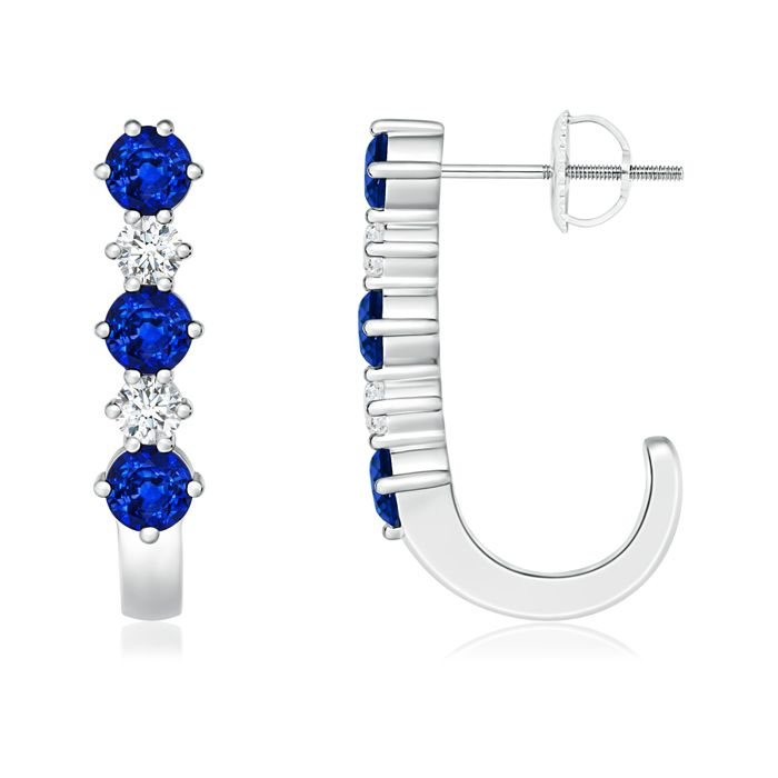 Angara Round Blue Sapphire Solitaire Earrings in White Gold IjaeyS6Uo