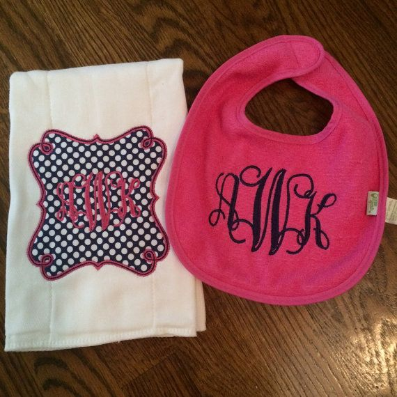 Custom Personalized Monogram Applique Bib and by AimeesAppliques