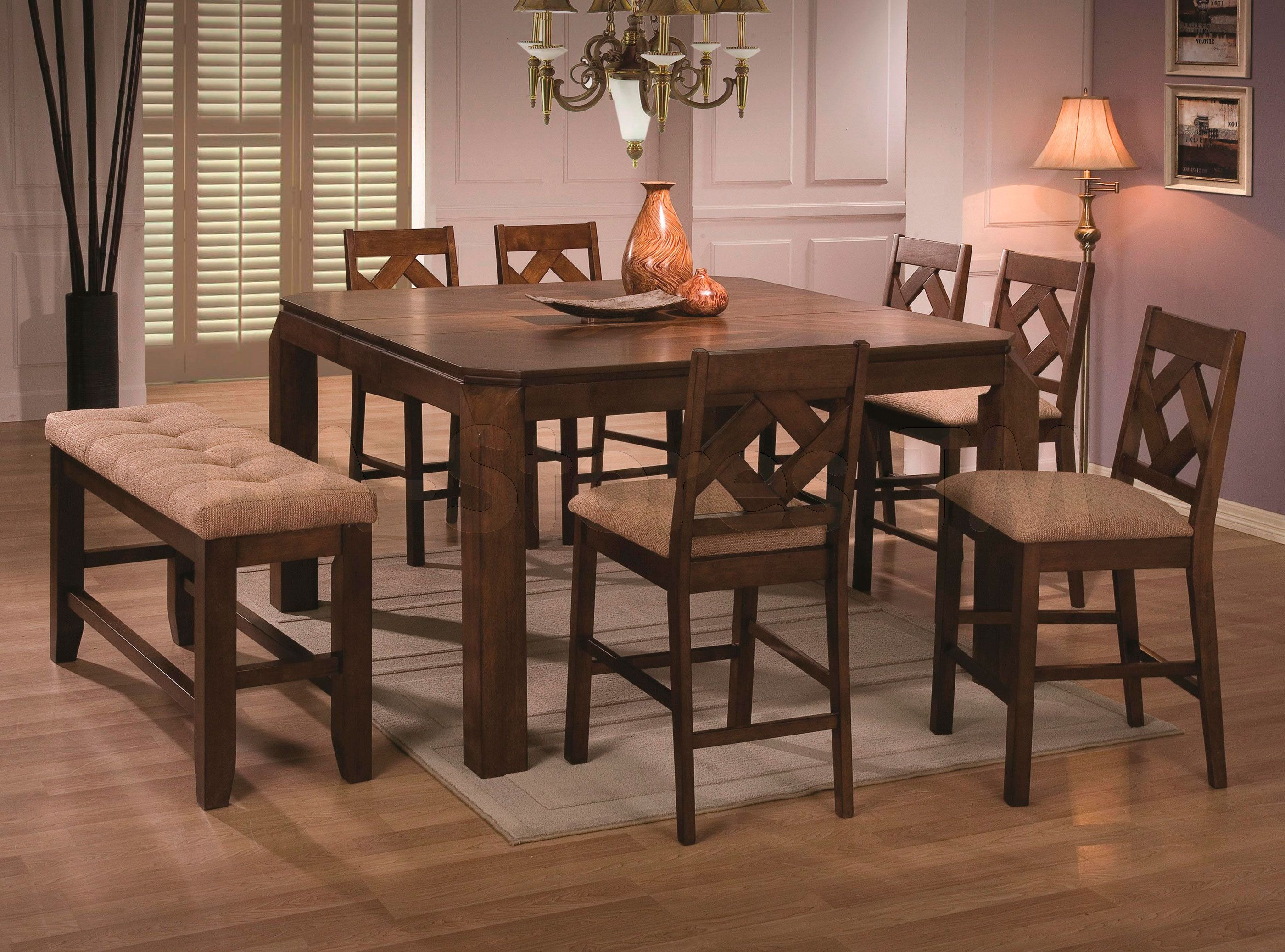 Antoine 6 Pc Counter Height Set Table Bench And 4 Chairs Enchanting 8 Pc Dining Room Set Decorating Design