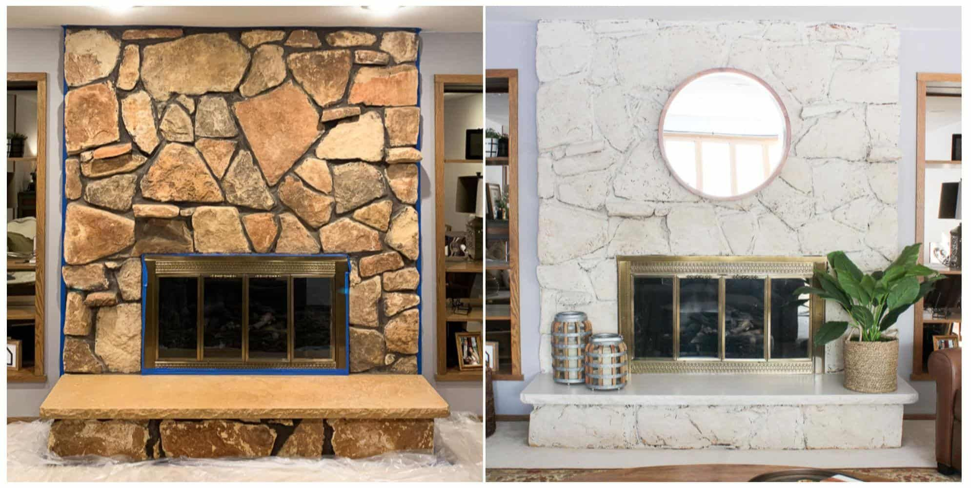 Limewash Stone Fireplace Makeover: Bye Bye Orange Stone Fireplace, Hello Neutral Stone Beauty! - Average But Inspired