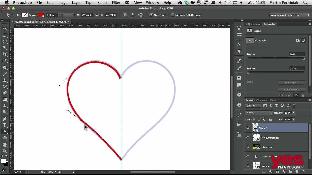 Drawing symmetrical shapes with the Pen tool