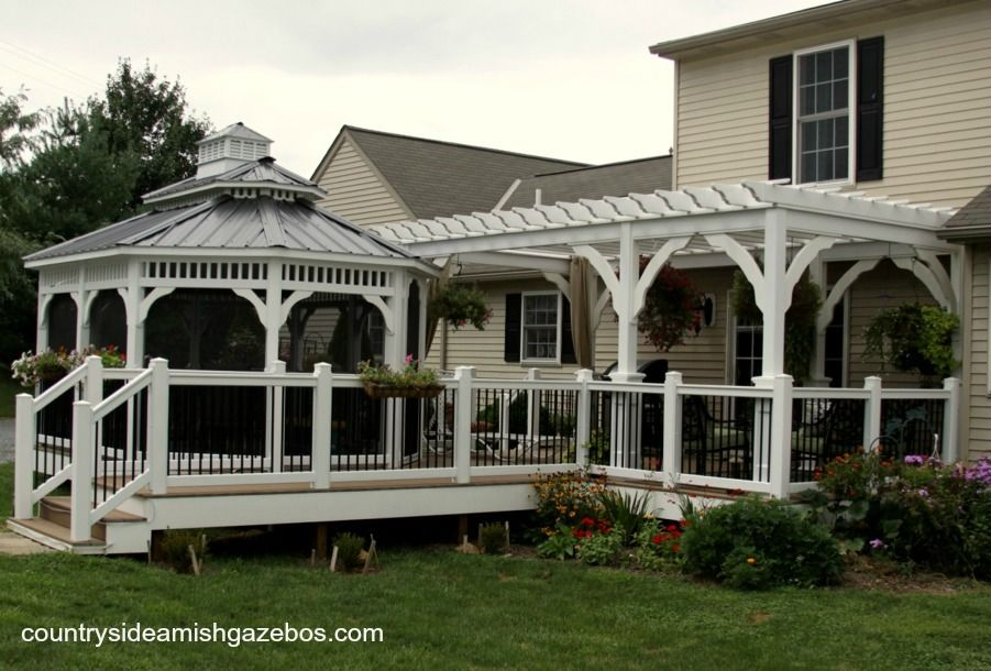 10x20 Vinyl Pergola And Gazebos And Deck Built By Countrysideamishgazebos Com Gazebo Vinyl Pergola Pergola