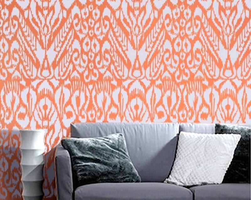 Ikat Stencil for Walls - Ikat Pattern no. 5 - Allover wall stencil ...