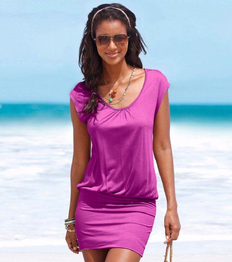 Frauen Sexy Kleid Sommer Kurzarm Casual Mantel Bodycon Kleider ...