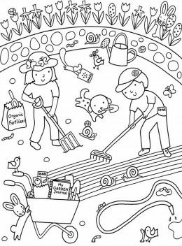 kids flower gardens colouring pages free coloring pictures to print - Gardening Coloring Pages