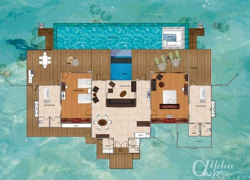 maldives beach bungalow design house floor plans | ocean-pavilions-with-private-pool_1143 in 2019 | Bungalow ...