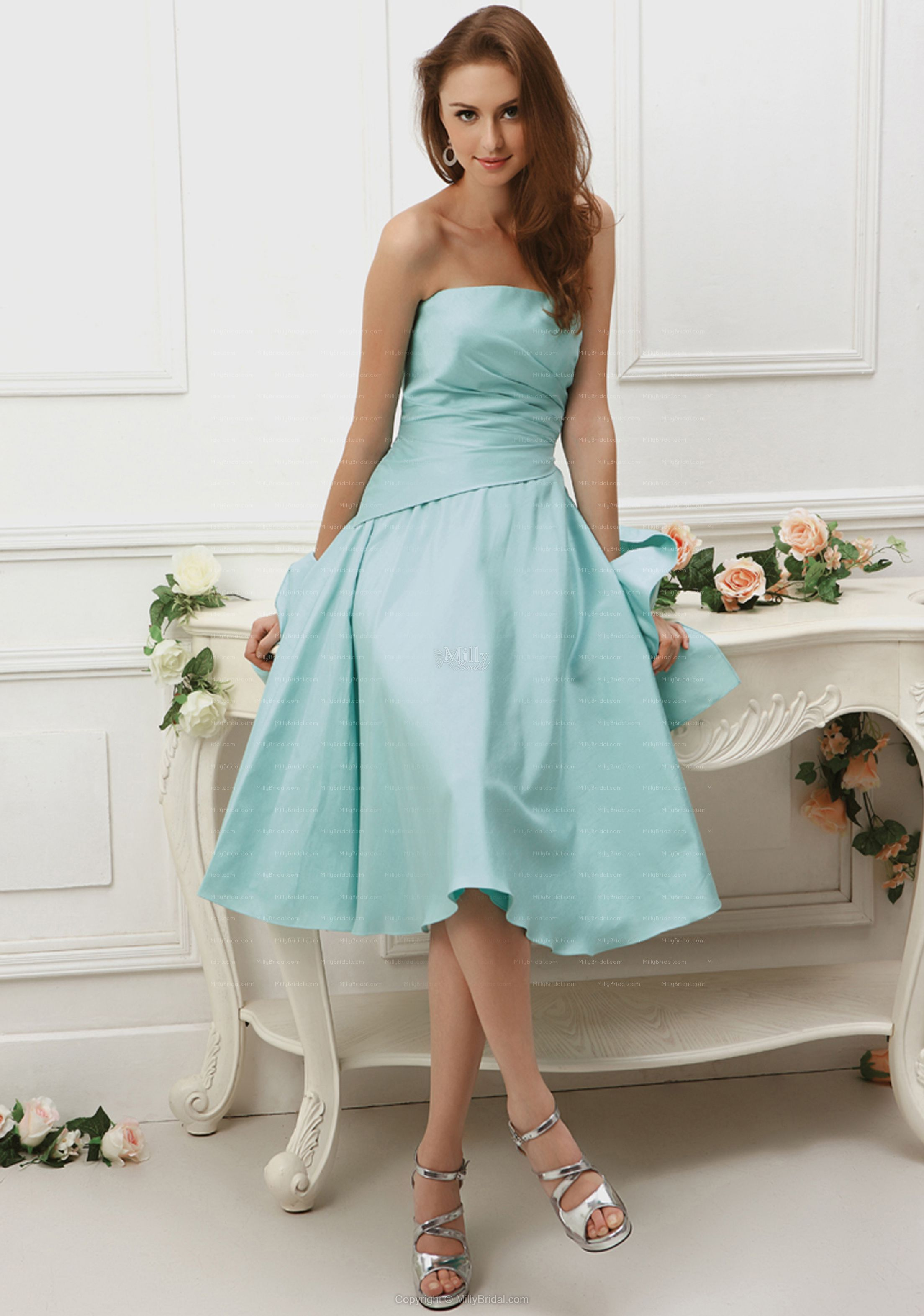 bridesmaid A-line Strapless Ruched Taffeta Knee-length Party Dress ...
