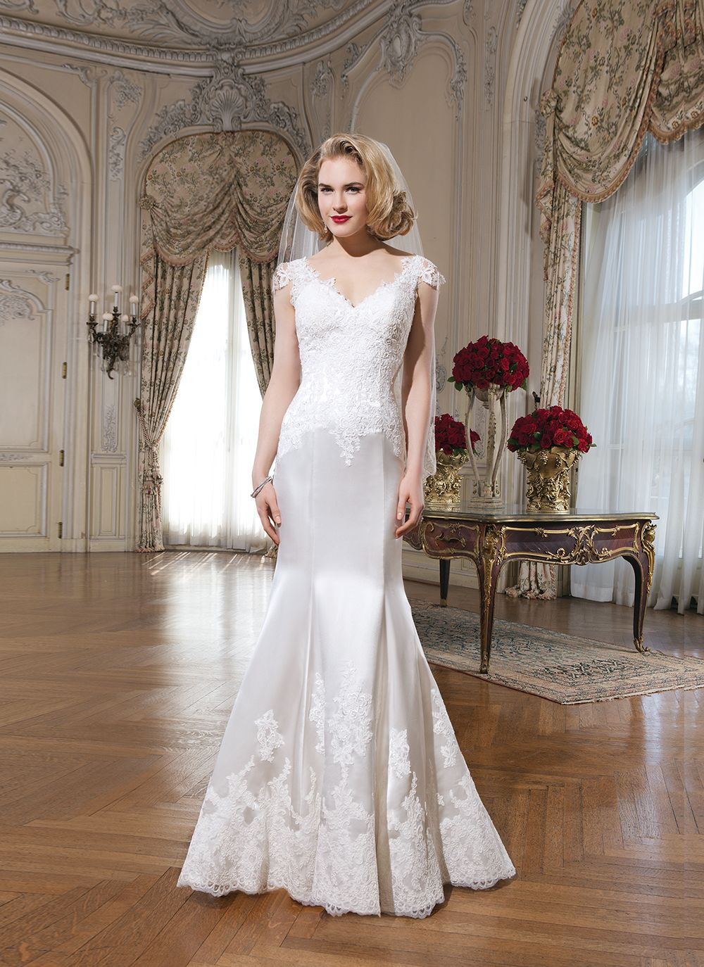 c6a6f75ccf570     Justin Alexander wedding dresses style 8730 Luxe charmeuse fit and  flare gown with Venice lace V-neckline
