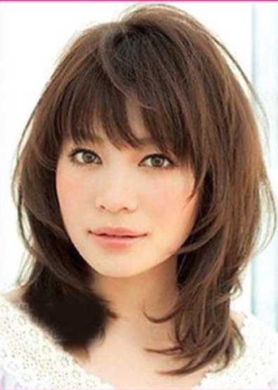 Medium Length Hairstyles With Bangs Adorable Medium Hairstyles With Bangs For Fine Hair  Wispy Medium Hairstyles