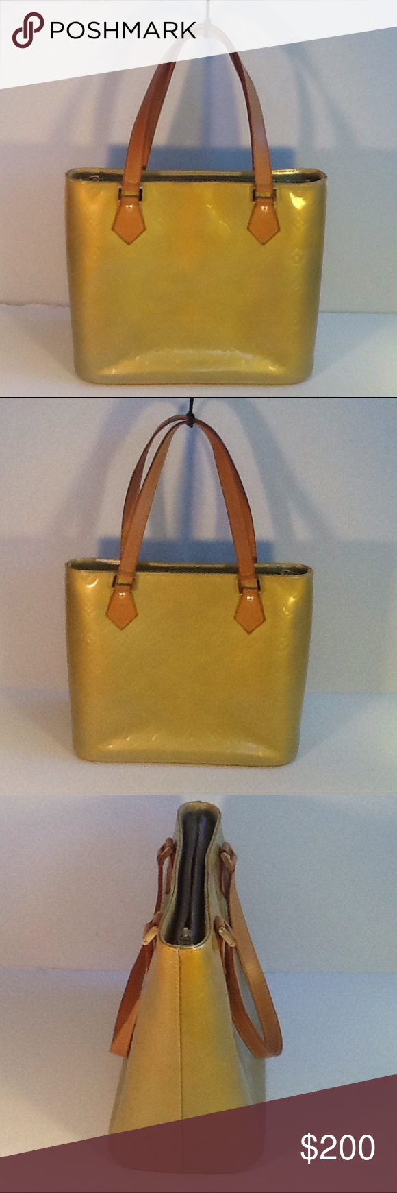 Authentic Louis Vuitton Vernis Houston Lime Bag. The color is line. Some  very light discoloration and stains are on the bag. The linen and straps  are good 3b9d0938b4071