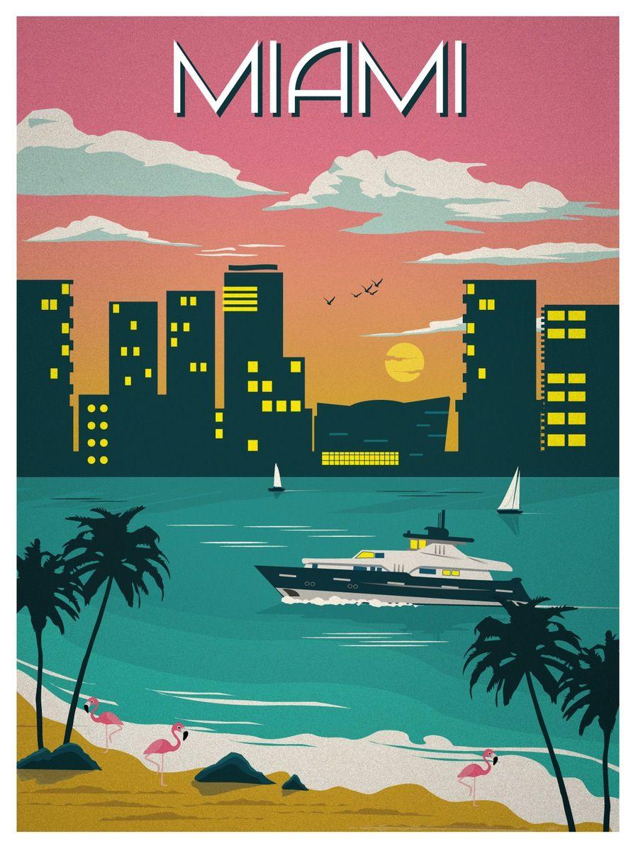 Vintage Miami Travel Poster Retro Travel Poster Vintage Travel Posters Retro Poster