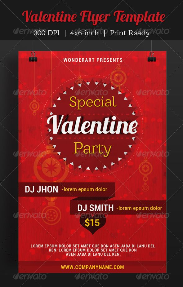 Valentine Party Invitation Poster Flyer Template  Flyer Template