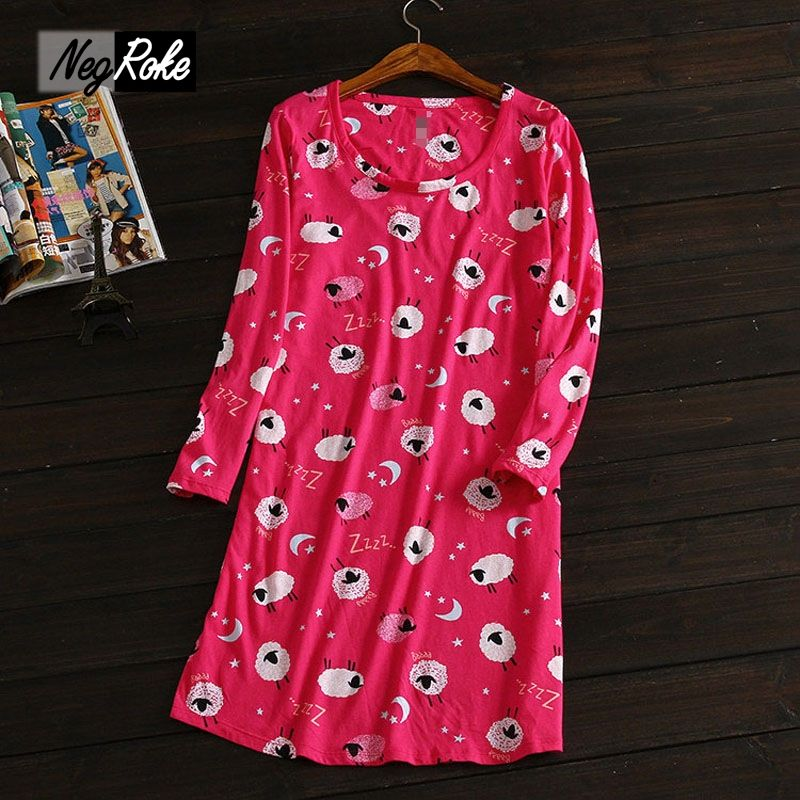 plus size lovely cartoon printed casual women nightgowns 100